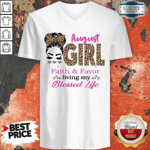 August Girl Faith And Favor Blessed Life V-neck